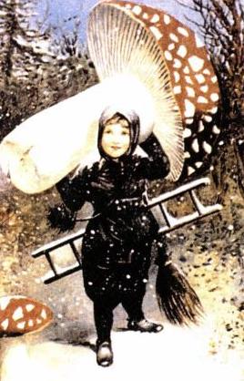 girl with giant mushroom