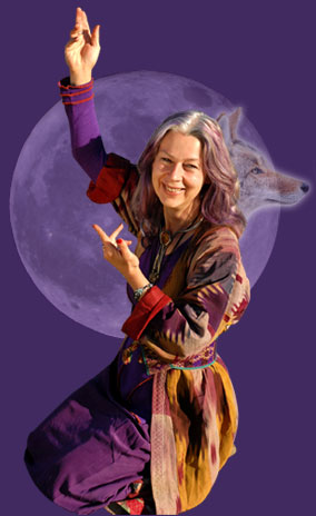 Caroline Casey with moon and coyote